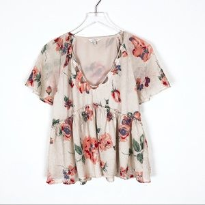 Lucky Brand   Pink Floral Babydoll V Neck Top